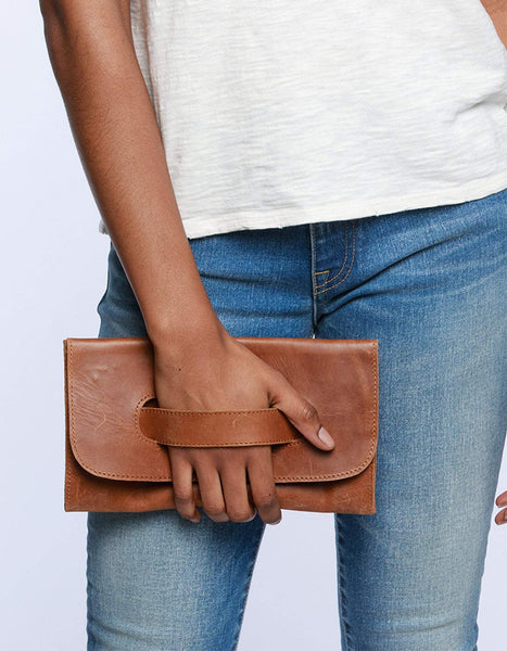 Able Mare Leather Clutch in Chestnut