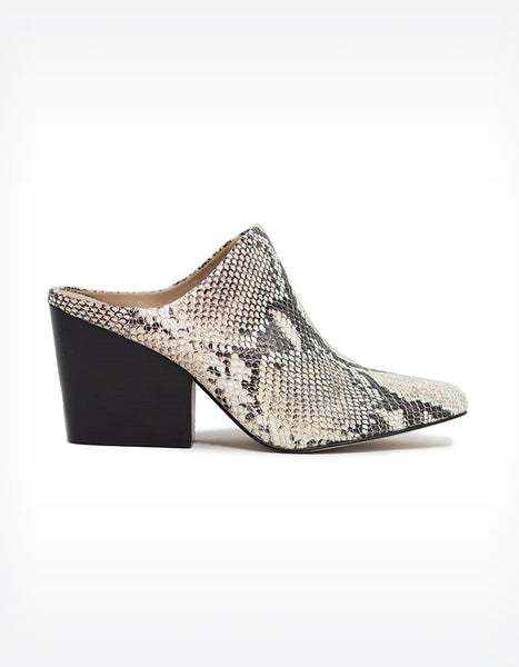 Able Rojas Leather Mules in Snake Print