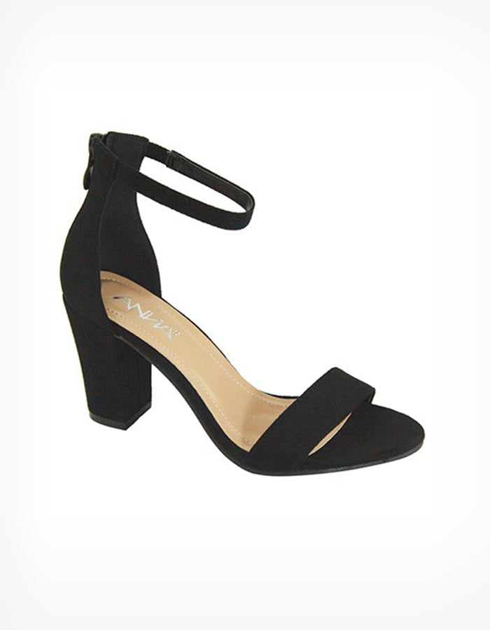 Libra Ankle Strap Heels in Black
