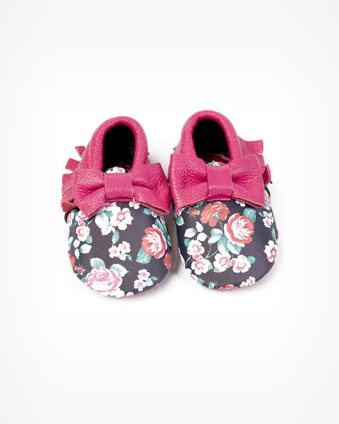 Floral and Bow Baby Moccasins