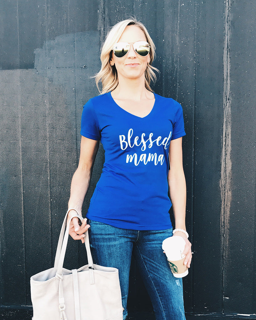 Blessed Mama V-Neck Tee (Royal or White)