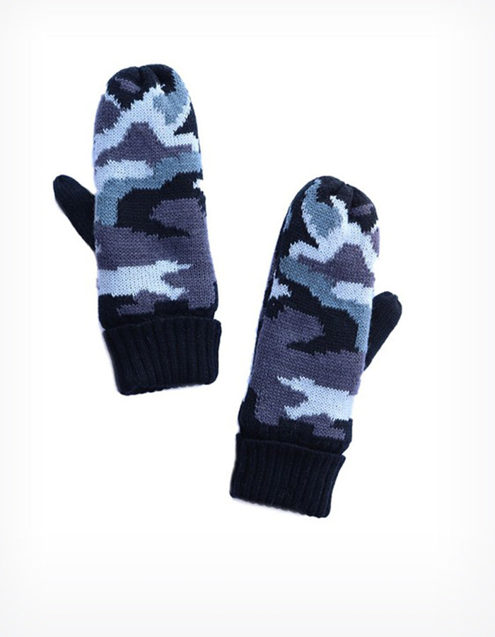 Let It Snow Camo Knit Mittens (Blue or Green)