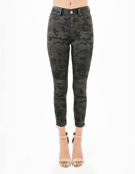(ONLY 1 LEFT!) Jinx High Rise Camo Moto Zipper Jeans