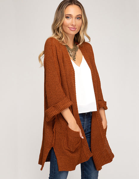 Come And Go Pocket Cardigan (Rust or Olive)