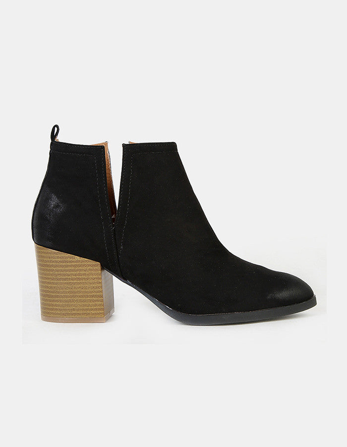 Carly Cut Out Ankle Booties (Black or Camel)