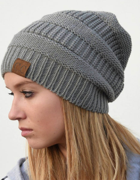 CC Knit Hat in Grey Melange