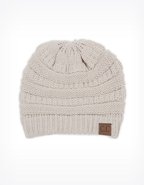 CC Knit Hat in Ivory