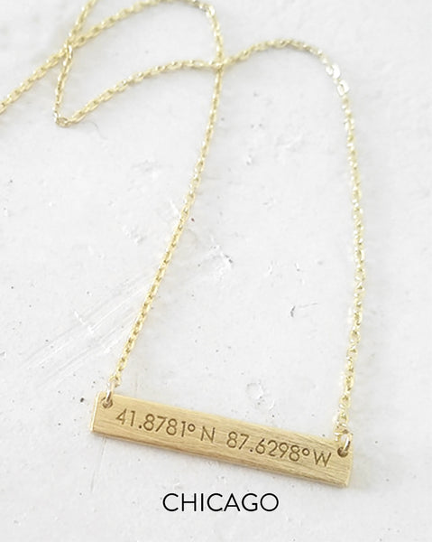Chicago Coordinates Bar Necklace (Gold or Silver)