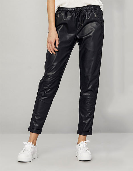 David Lerner Leather Track Pants
