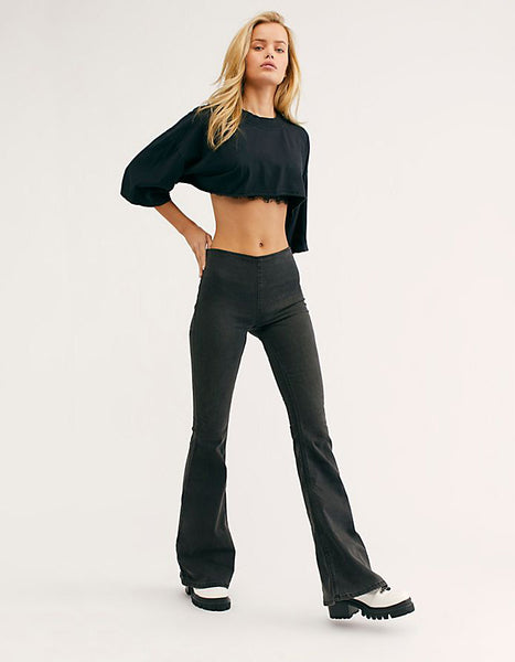 Free People Penny Pull On Flares in Black