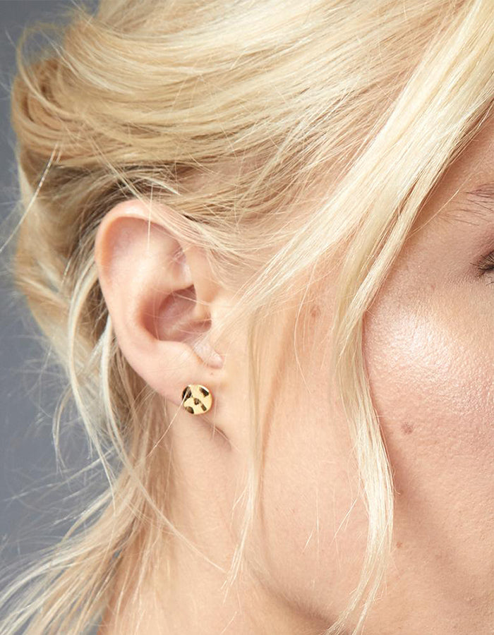 Chloe Hammered Stud Earrings (Gold, Rose Gold, Silver)