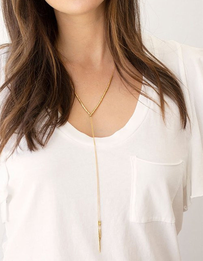 Laguna Lariat Necklace (Gold, Rose Gold, Silver)