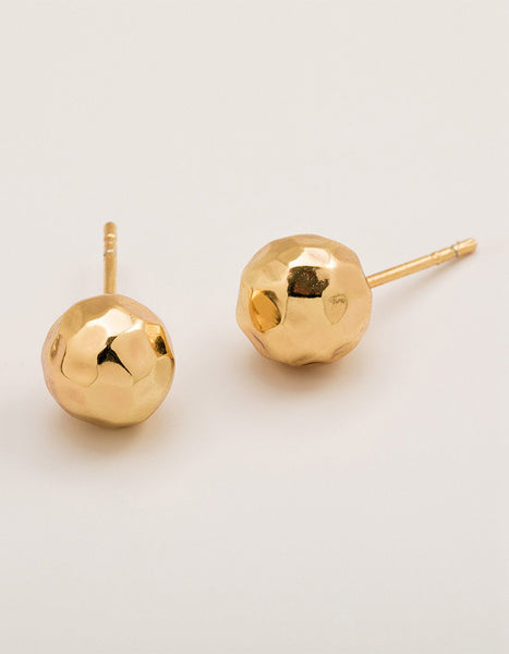 Hammered Ball Stud Earrings (Gold, Rose Gold, Silver)