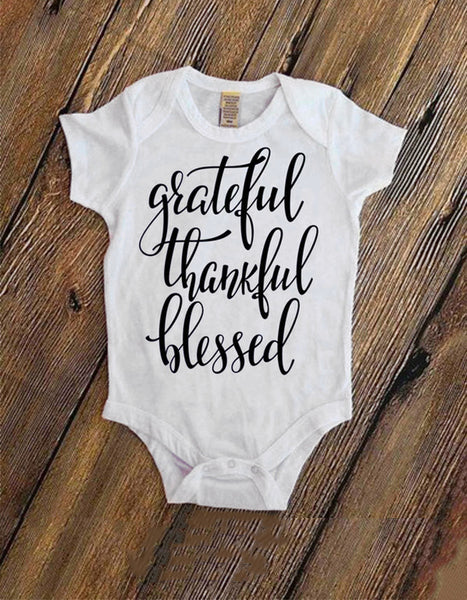 Thankful Grateful Blessed Baby Onesie