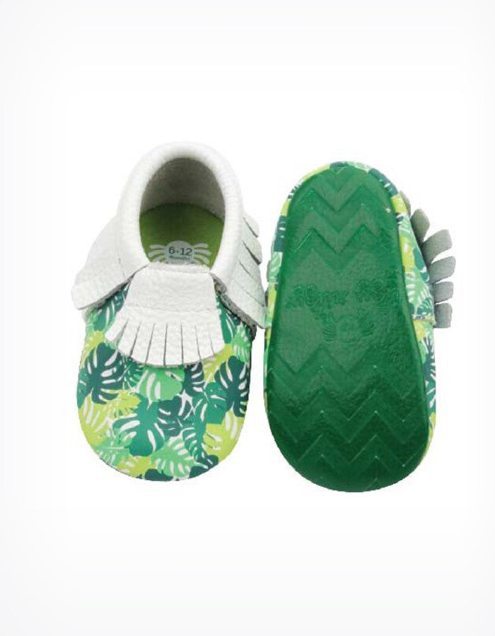 Moc Happens Leather Baby Moccasins in Palm Leaves