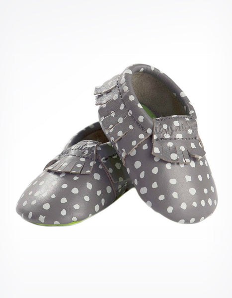 Moc Happens Leather Baby Moccasins in Gray Polka Dots