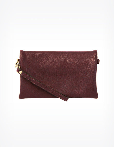 Kate Fold Over Crossbody Clutch in Burgundy