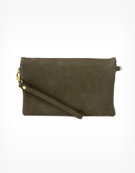 Kate Fold Over Crossbody Clutch in Olive
