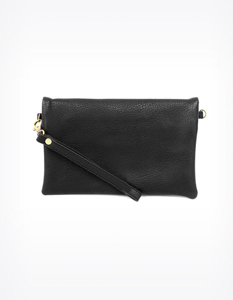 Kate Fold Over Crossbody Clutch in Black