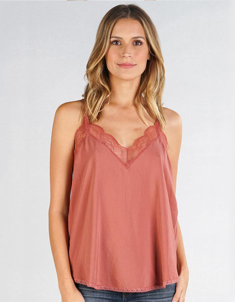 (ONLY 1 LEFT!) Monarch Lace Tank in Coral