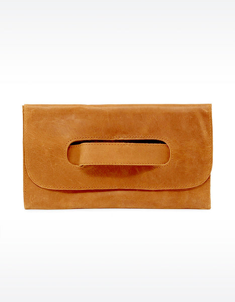 Able Mare Leather Clutch in Cognac
