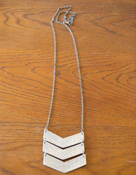 Mata Traders Chevron Necklace in Silver