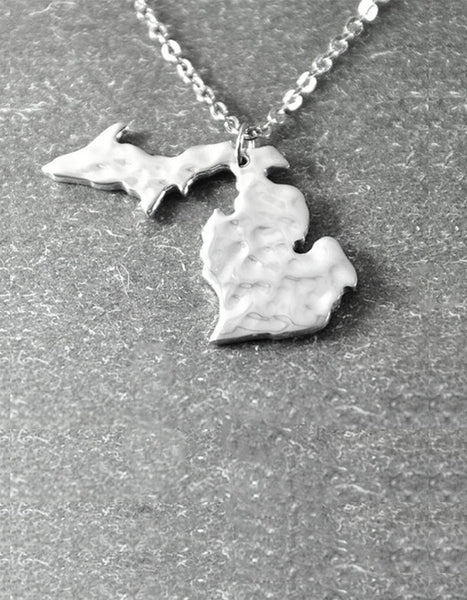 Hammered State of Michigan Necklace in Silver