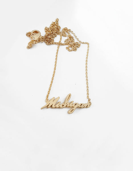 Michigan Script Necklace