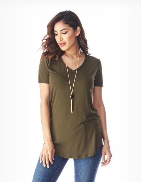 Everyday V-Neck Tunic Tee (Olive or Grey)