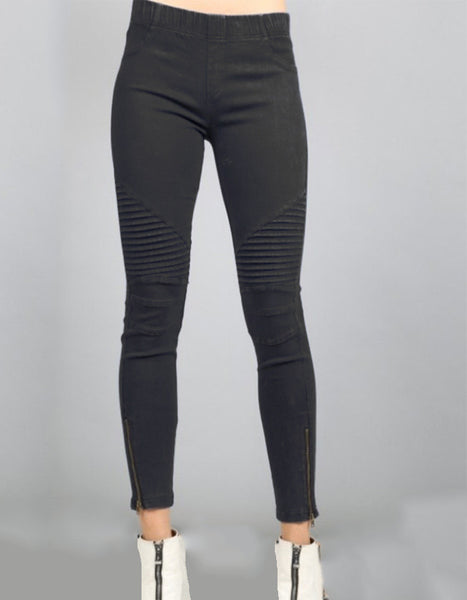 Krissy Moto Jeggings in Black, White or Olive