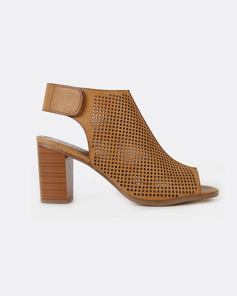 Seleste Perforated Peep Toe Booties in Tan