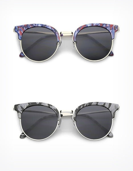 Retro Print Round Sunglasses