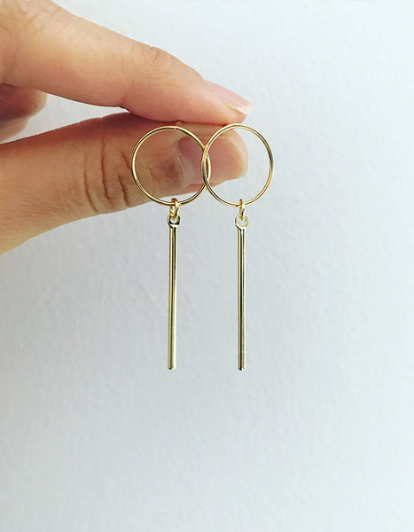 Rhythm Circle Drop Earrings (Gold, Silver, or Rose Gold)