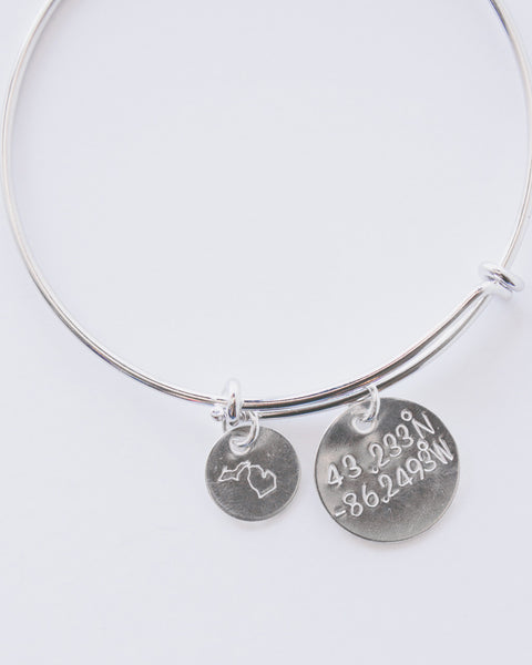 Michigan Coordinates Bangle Bracelet