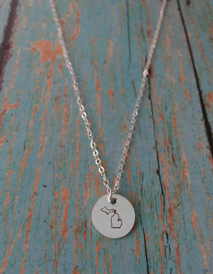 Michigan Disc Necklace (Sterling Silver, 14k Gold, Rose Gold)