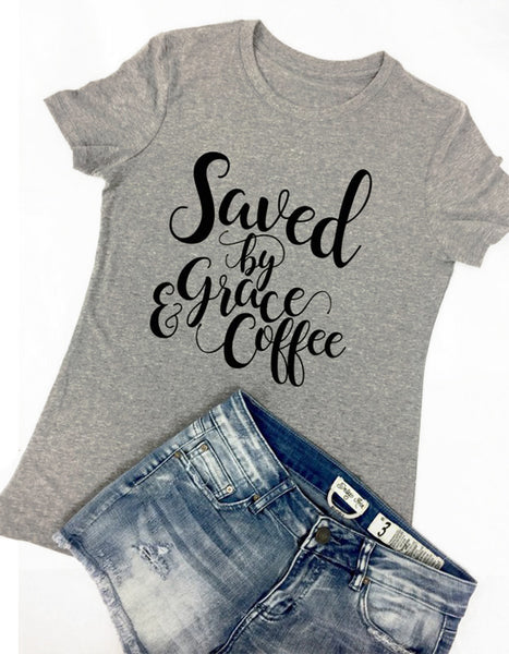 (ONLY 1 LEFT!) Saved by Coffee & Grace Tee - Grey