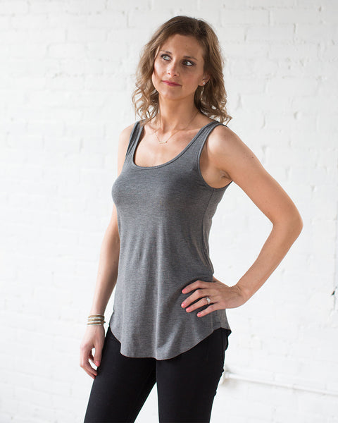 Essential Scoop Neck Tank in Charcoal