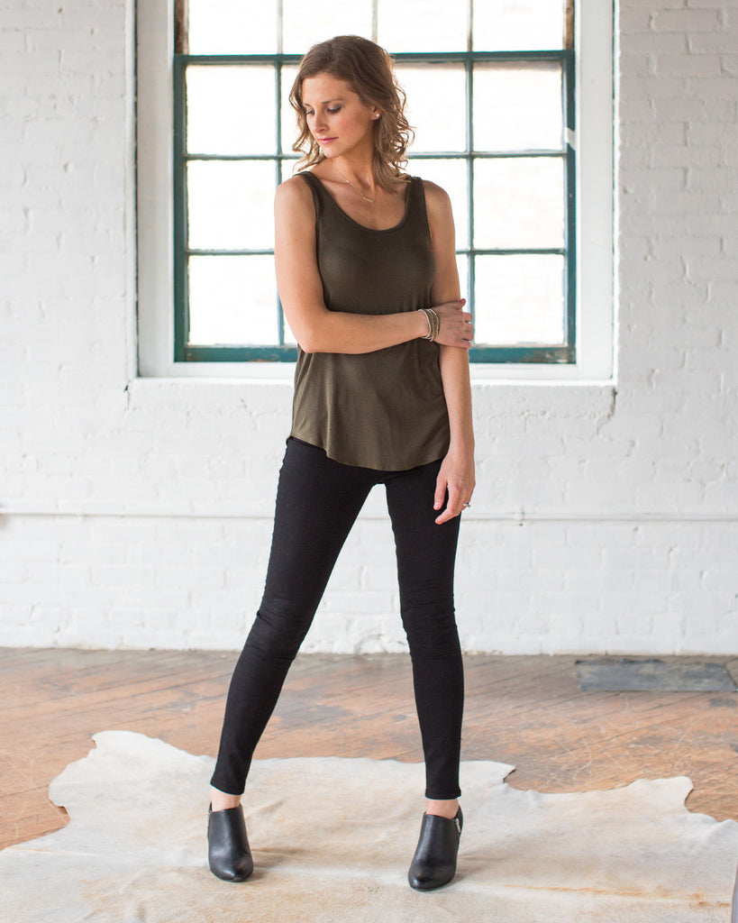 Essential Scoop Neck Tank in Olive