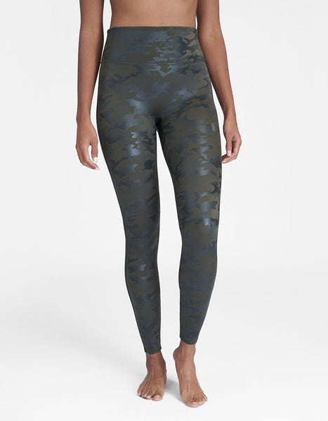 Spanx Faux Leather Camo Green Leggings