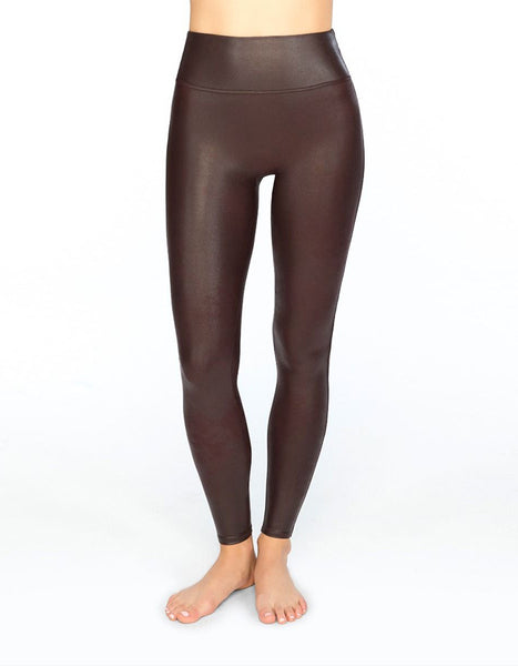 Spanx Faux Leather Wine Leggings
