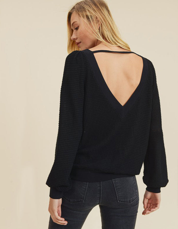 Kayla Waffle Knit Sweater (Black or Ivory)