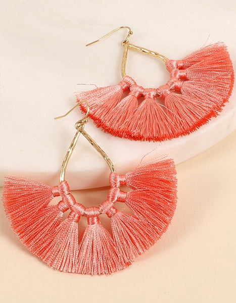 Kara Tassel Earrings (Coral or Black)