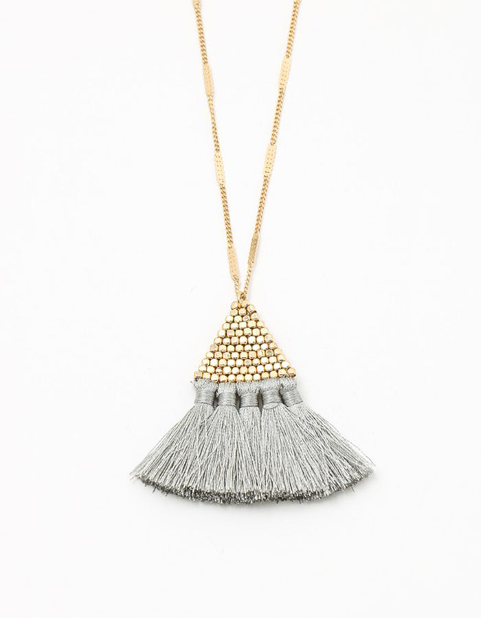 Fenix Bead Tassel Necklace - Grey
