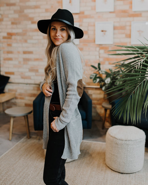 (ONLY 1 LEFT!) Coffee Corner Elbow Patch Cardigan
