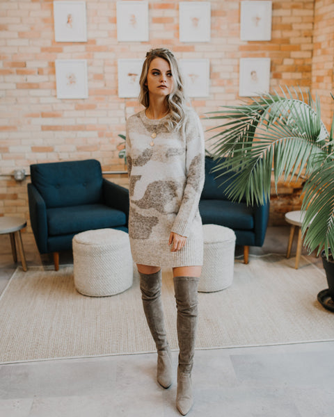 Talia Camo Sweater Dress