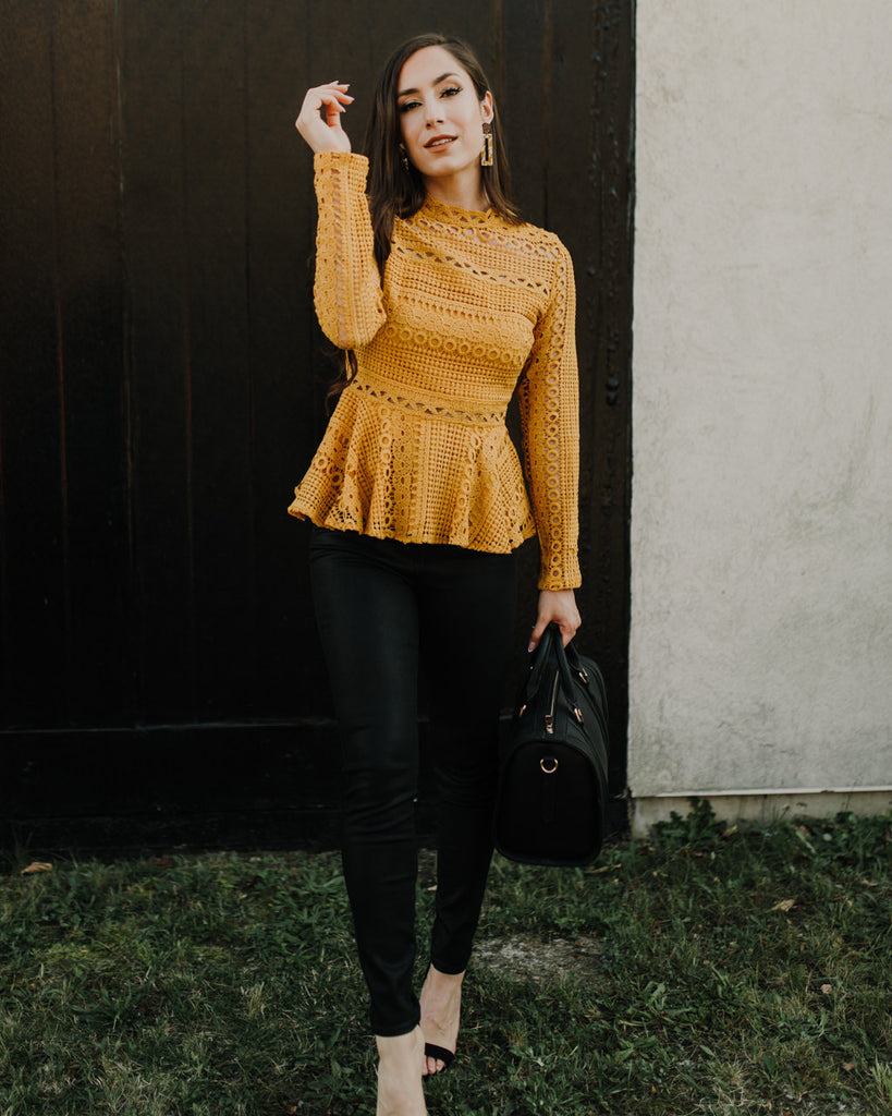 Rightly So Crochet Blouse in Golden Mustard