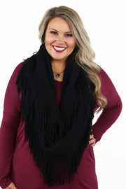 All In Fringe Infinity Scarf - Black