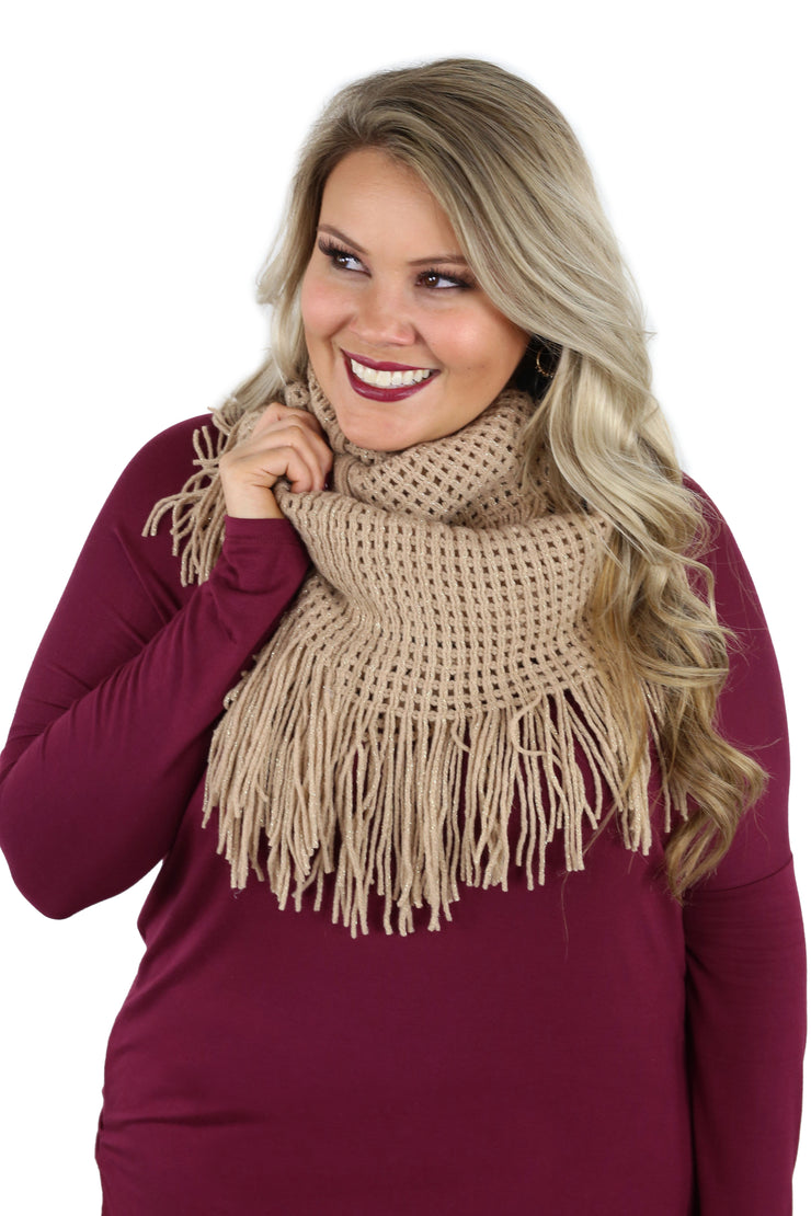 All In Fringe Infinity Scarf - Rose