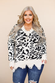 Kiki LaRue Bennett Black Leopard Printed Distressed Sweater