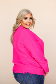Kiki LaRue Bishop Hot Pink Distressed Thick Sweater